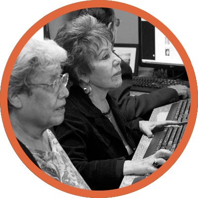 Seniors at computer literacy class